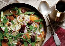 salad of fennel oranges and candied pecans vegetarian