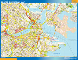 United States Wall Map by Boston Downtown Map Netmaps Usa Wall Maps Shop Online