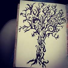 tribal design tree drawing with sharpie my