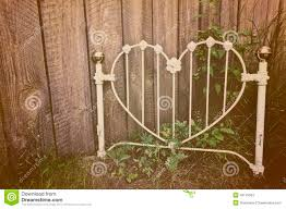 old heart shaped white wrought iron headboard stock image image