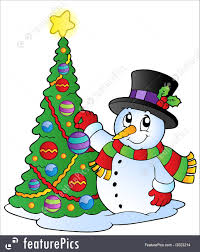snowman christmas tree snowman with christmas tree illustration