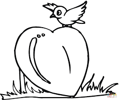 little bird on the heart coloring page free printable coloring pages
