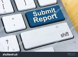 submit written word submit report on blue stock photo 378783007