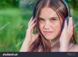 portrait beautiful teen big green stock photo 286733984