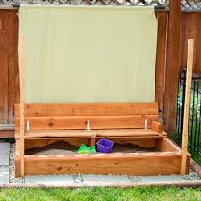 ana white modified sandbox with built in seat diy projects