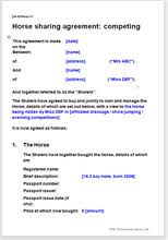 horse sharing agreements equestrian legal document templates