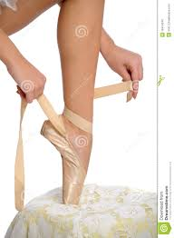 tying ballet slippers stock photography image 18414242