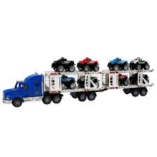 car toy blue deluxe toy truck auto hauler kids and boys bright blue