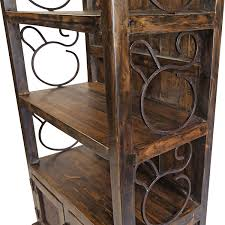 wooden scrolls for cabinets rustic wood book shelf with iron scrolls and iron panel doors