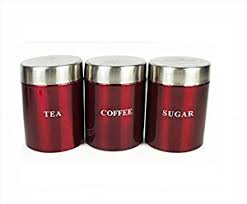 Red Kitchen Canisters - set of 3 metallic red tea coffee u0026 sugar canisters kitchen storage