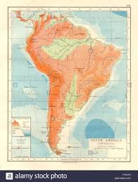 South America Map Physical by South America Physical Inset West East Cross Section Johnston