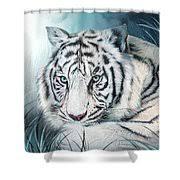 White Tiger Shower Curtain White Tiger Spirit Of Sensuality Mixed Media By Carol Cavalaris