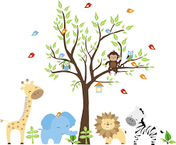 17 nursery wall decals and how to apply them keribrownhomes bedroom cute animals jungle nursery wall decals theme with tree monkey owl birds elephant zebra