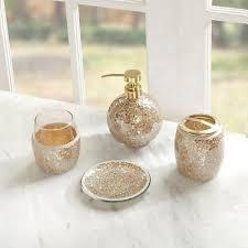 Cracked Glass Bathroom Accessories Gold Bathroom Accessories Set Lefemes Com
