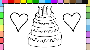 learn to colors for kids and color stripe birthday cake and hearts