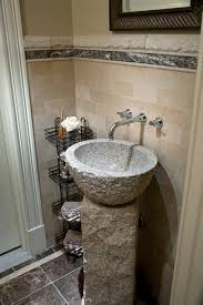 Wall Art For Powder Room - bathroom vintage stone powder room vanity design with stainless