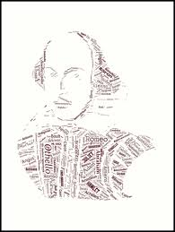 william shakespeare word collage with 400 play characters