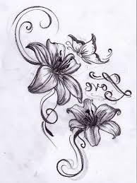 butterfly and flower designs tribal flower and butterfly