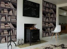 wallpaper that looks like bookshelves cool genuine fake bookshelf wallpaper freshome com