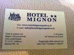 Hotel Business Card Business Card Picture Of Hotel Mignon Padua Tripadvisor