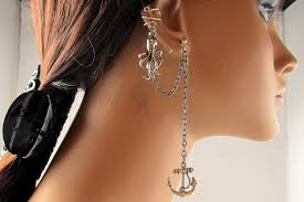 earrings with chain ear cartilage octopus and anchor earring nautical silver chain ear cuff