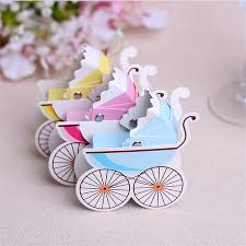 baby shower return gifts 100pcs lot colorful baby carriage baby shower trolley paper guest