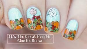 it u0027s the great pumpkin charlie brown nail art youtube