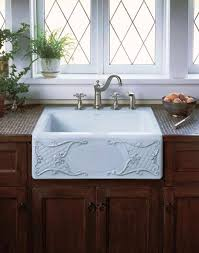 Farmhouse Kitchen Designs Photos by Small Top Mount Farmhouse Kitchen Sink With White Color Under