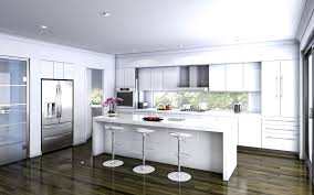 large all white kitchen with modern design with small eat in area