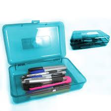 plastic pencil box case kids office supplies pen art craft