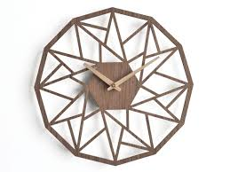 wooden wall clock 30cm 12 in geometric clock laser cut