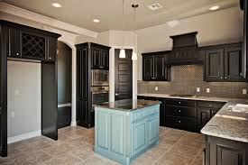 dark cabinets in kitchen with blue island transitional kitchen