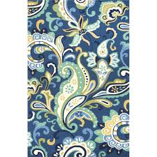 Polypropylene Area Rug Rug128047 Jaipur Indoor Outdoor Floral U0026 Leaves Pattern Blue