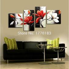 hand painted 3 pcs art curtain white black red flower wall sticker