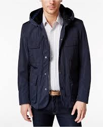 barbour men s thurso detachable hood jacket in blue for men lyst