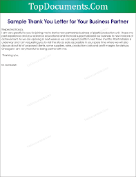Thank You Letters For Business by Thank You Letter For Business Partnership U2013 Top Docx