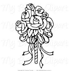 bridal clipart of a coloring page of a bridal bouquet of roses by