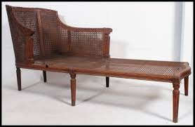 Daybed Chaise Lounge Sofa by A Circa 19th Century Twin Caned Bergere Chaise Longue Sofa