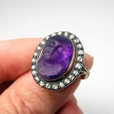 amethyst diamond engagement ring superb georgian ring amethyst cupid cameo diamond gold ring