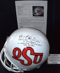 barry sanders signed oklahoma state full size helmet inscribed