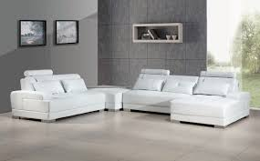 White Leather Couch Living Room Contemporary White Leather Sectional Sofa W Ottoman
