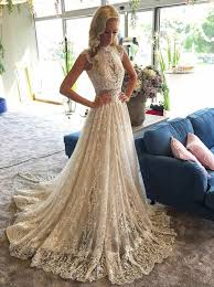 beaded wedding dresses a line high neck sweep light chagne lace beaded wedding