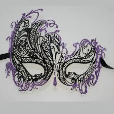 purple masquerade mask black purple glitter masquerade wedding venetian eye prom