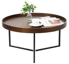barrie walnut round tray table coffee tables living room