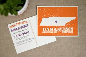 wedding save the date postcards orange and purple state of tennessee save the date wedding save