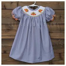 Thanksgiving Dresses For Infants Smocked Thanksgiving Turkey Dress Bishop Navy Gingham Baby