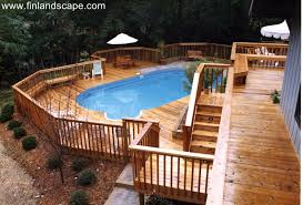 deck backyard ideas a hillside back yard including a swimming pool multilevel decks