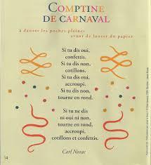 si e auto comptine comptine de carnaval carl norac littérature au primaire