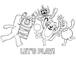 yo gabba gabba characters playing football coloring