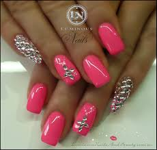 simple nail designs with rhinestones